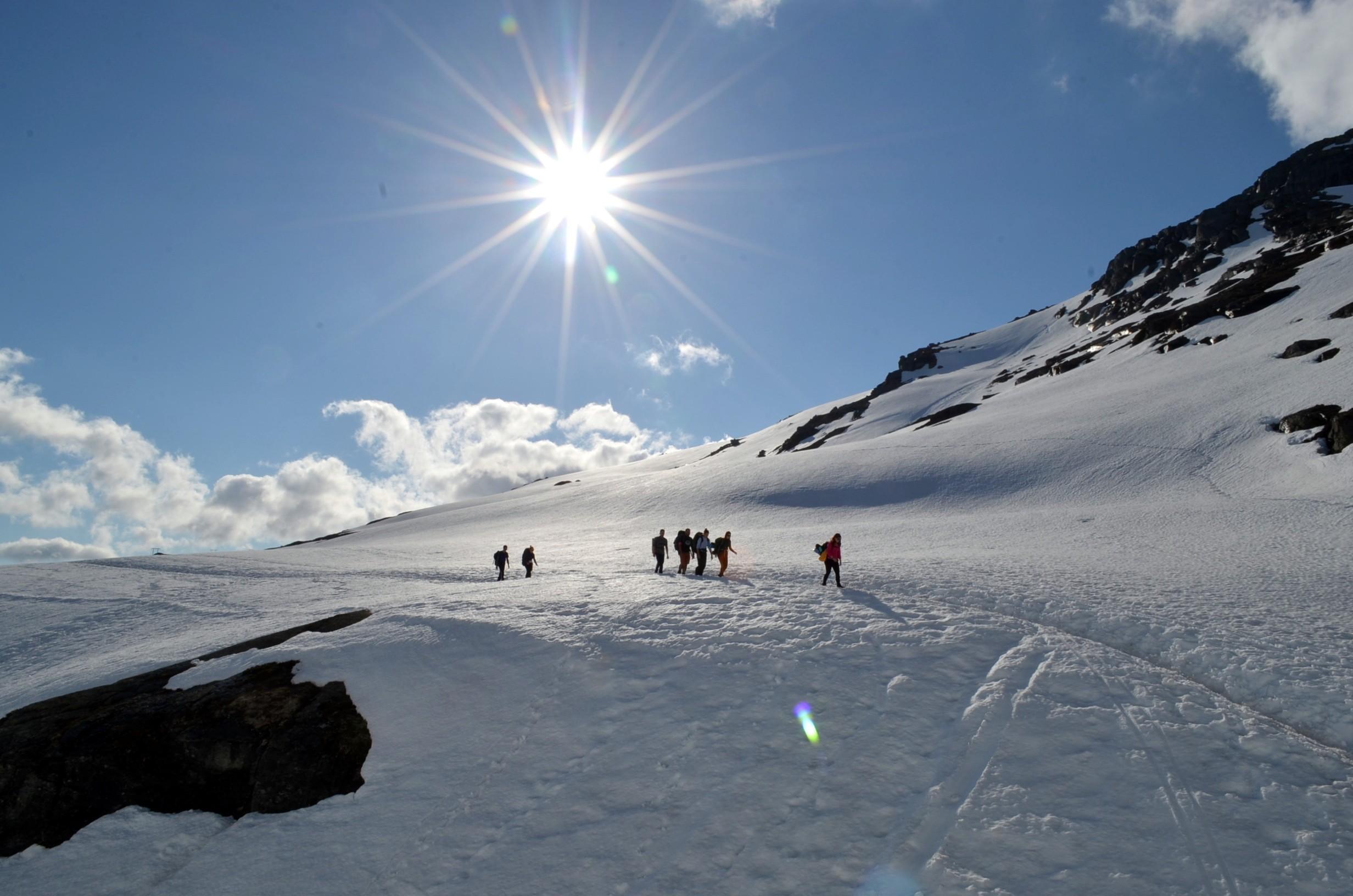 Walking on Snow en route to Trolltunga