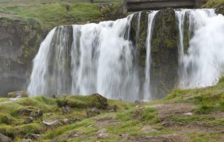 water falls next to Kirkjufell